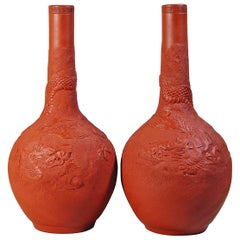 Japanese Redware Pottery Vases