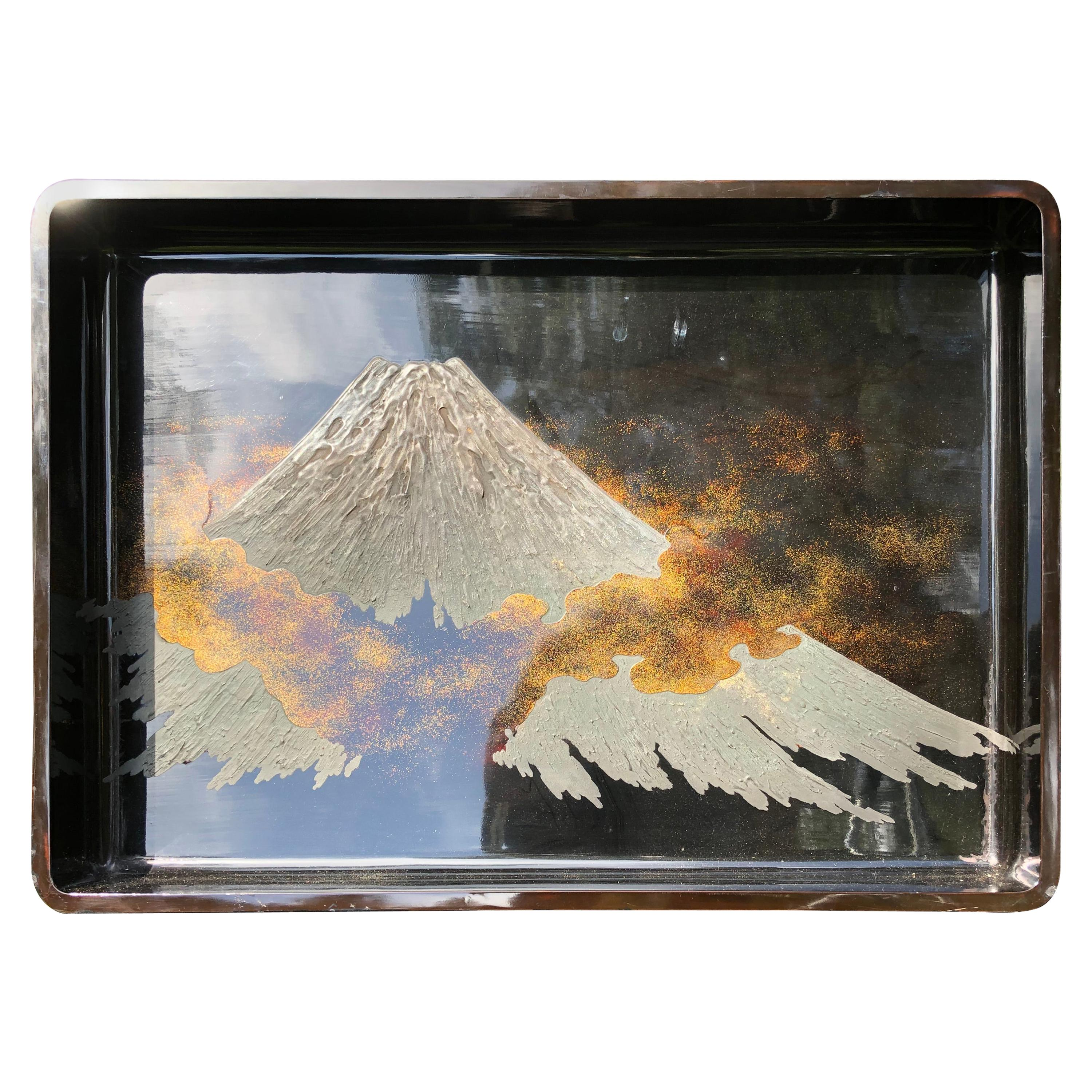 """Japanese Rich Lacquered """"Mount Fuji"""" Tray Wall Art"""