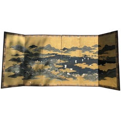 """Japanese """"Sail Boating on Blue Waters"""" Six-Panel Screen, Taisho Period"""