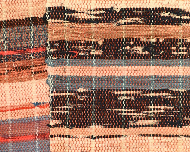 Hand-Woven Japanese 'Saki-ori' Rug with Patchwork Cotton Backing, Early 20th Century For Sale
