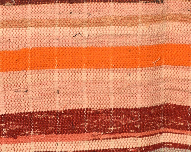 Japanese 'Saki-ori' Rug with Patchwork Cotton Backing, Early 20th Century In Distressed Condition For Sale In Prahran, Victoria