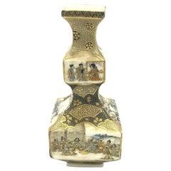 Japanese Satsuma Hand Painted Vase, Early 20th Century