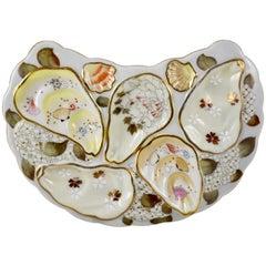Japanese Satsuma Porcelain Crescent Shape Enameled Floral and Shell Oyster Plate