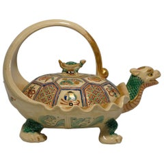 Japanese Satsuma Tea Kettle, Rare 'Minogame' Turtle Form, Signed Makuzu Kozan