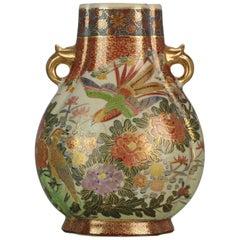 Japanese Satsuma Vase with Birds, 20th Century Taisho Period
