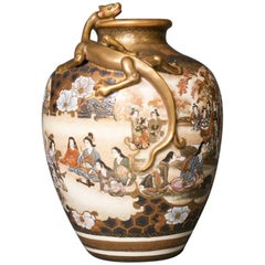 Japanese Satsuma Vase with Dragon