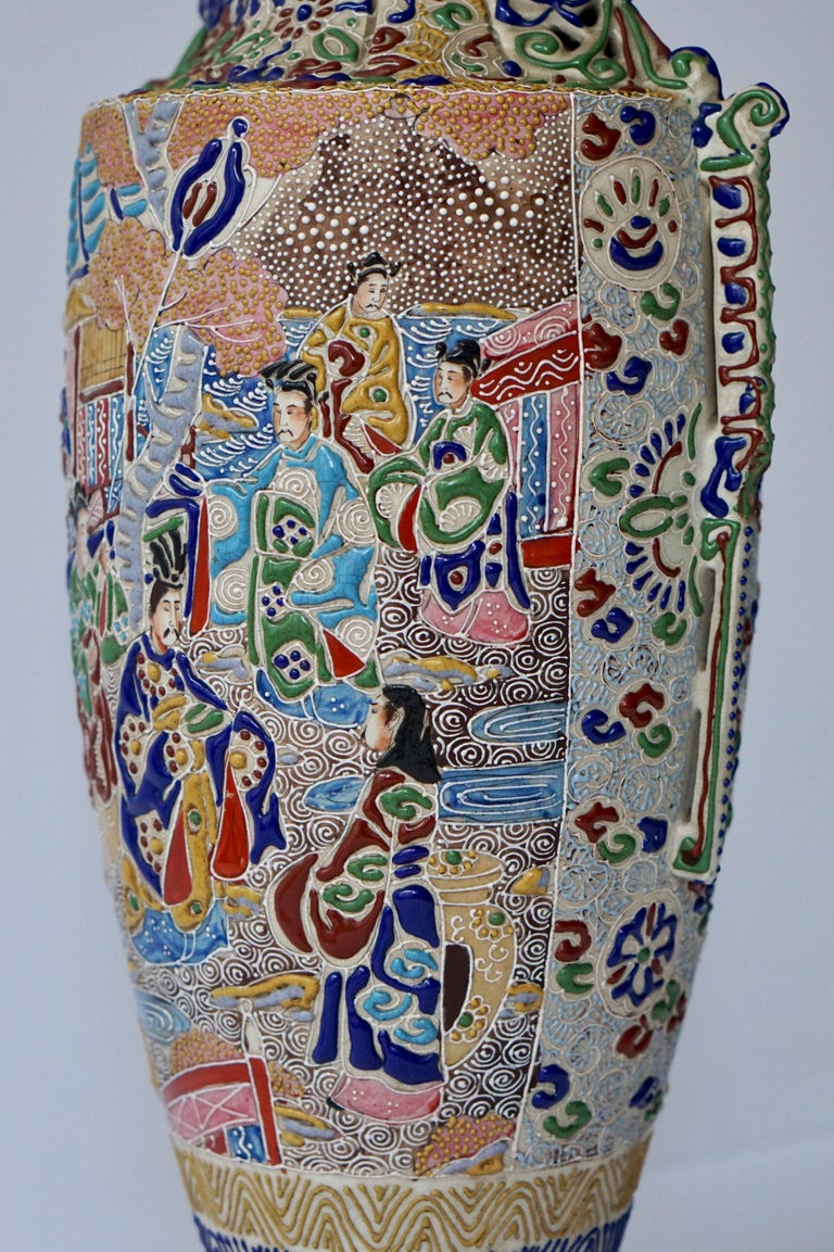 Japanese Satsuma Vase with Figures For Sale 4