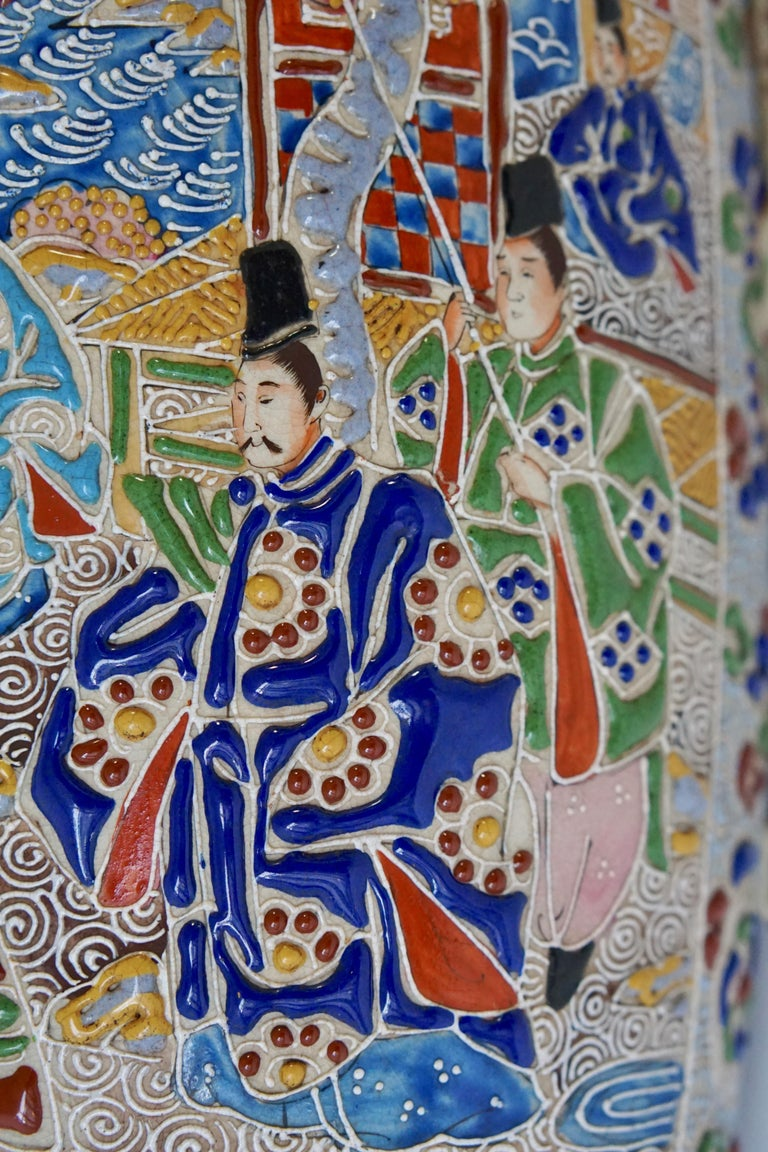Hollywood Regency Japanese Satsuma Vase with Figures For Sale