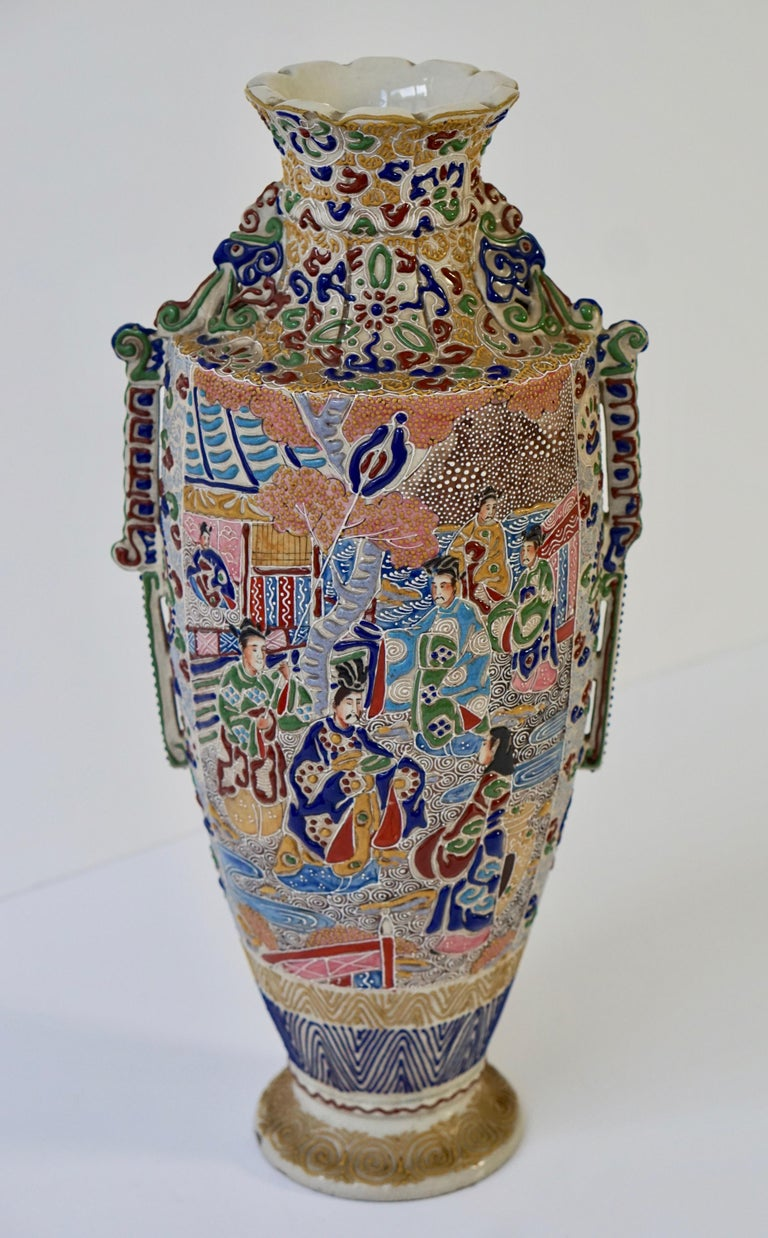 Japanese Satsuma Vase with Figures For Sale 1