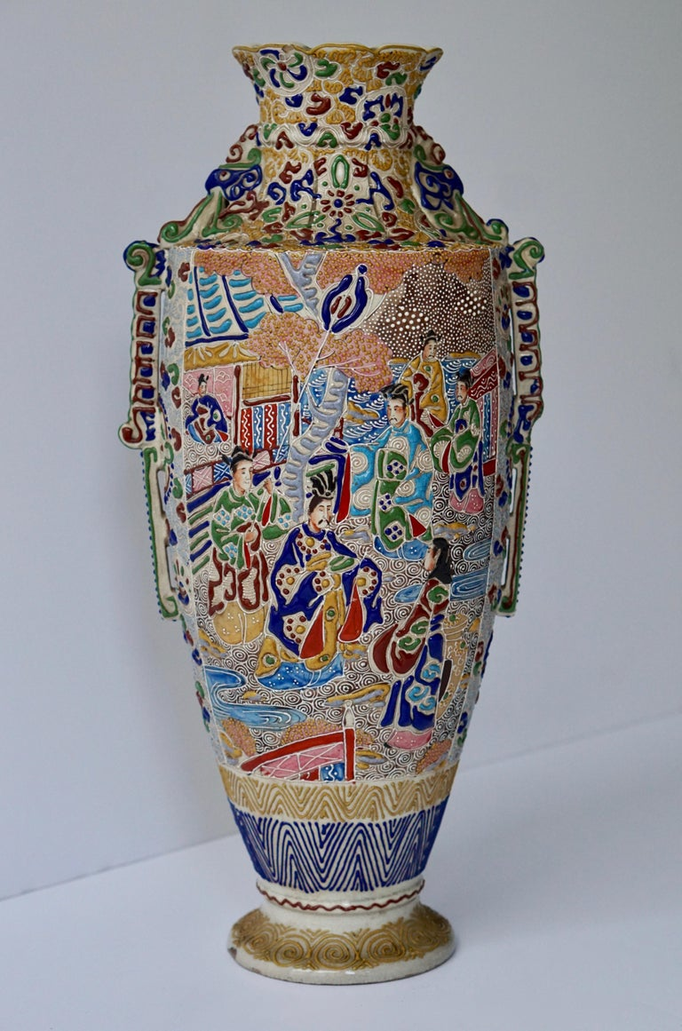 Japanese Satsuma Vase with Figures For Sale 2