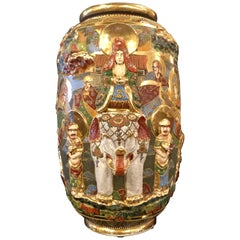 Japanese Satsuma Vase with Gold Gilt High Relief Decoration Depicting a Goddess