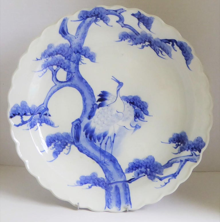 Japonisme Japanese Scalloped Charger Blue White Pair of Cranes on Pine Tree Meiji Period