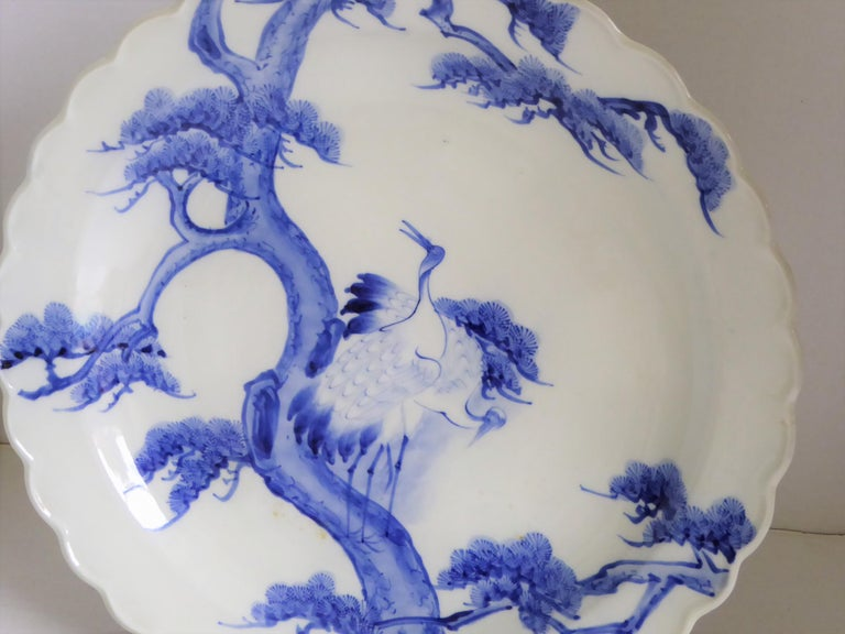 Painted Japanese Scalloped Charger Blue White Pair of Cranes on Pine Tree Meiji Period