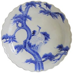 Japanese Scalloped Charger Blue White Pair of Cranes on Pine Tree Meiji Period