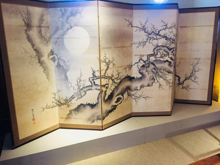 Japanese Screen Black Ivory Hand Painted Blossoms Branches Birds Six Panels In Excellent Condition For Sale In Carmel Valley, CA