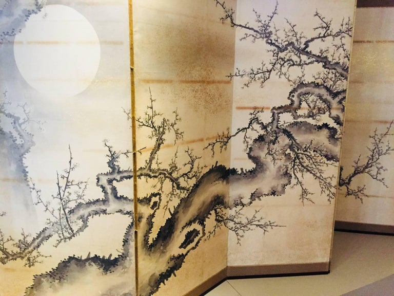 Silk Japanese Screen Black Ivory Hand Painted Blossoms Branches Birds Six Panels For Sale