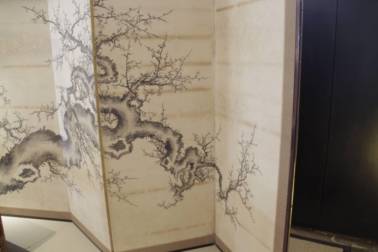 This extraordinary delicately hand-painted six-panels screen of birds, blossoms and branches is from Japan early 19th century. Custom framed and mounted to textile matte and wood frame.