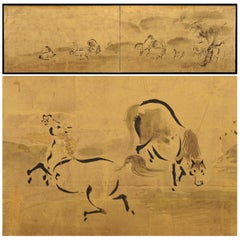 Japanese Screen Painting, circa 1700 'Horses' by Kano Tanshin