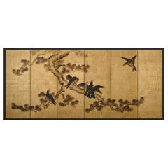 Japanese Screen Painting, Late 17th Century, Crows & Pine by Kano Chikanobu