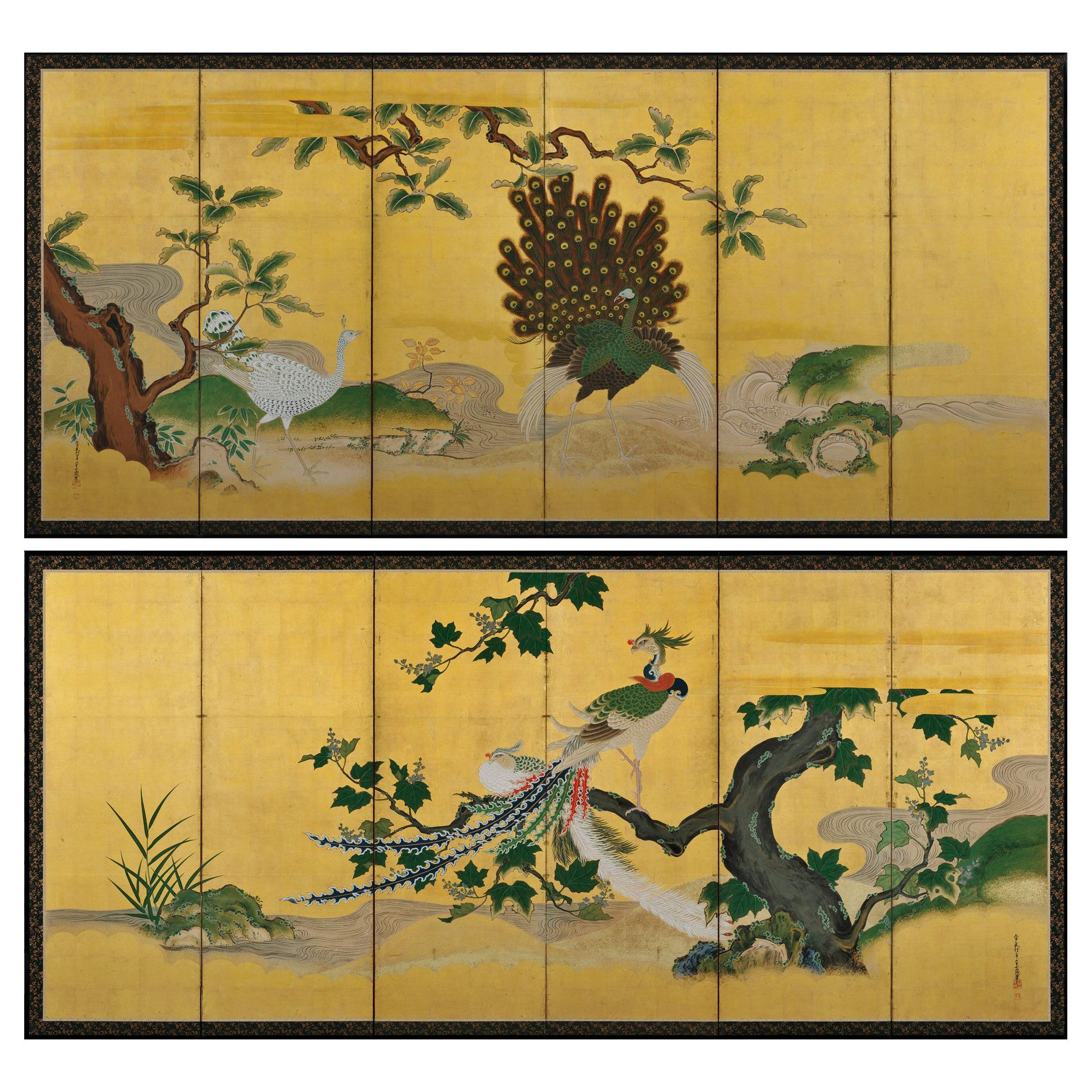 Japanese Screen Pair, circa 1730, Peacocks and Phoenix, Kano School