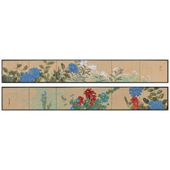 Japanese Screen Painting, Circa 1915 Spring & Fall Flowers, Rimpa School