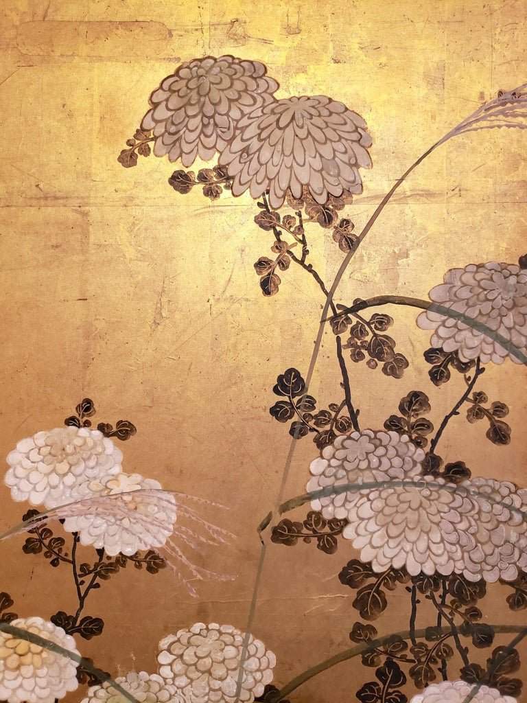 Japanese Screen White Chrysanthemums and Wild Grasses In Good Condition For Sale In Hudson, NY