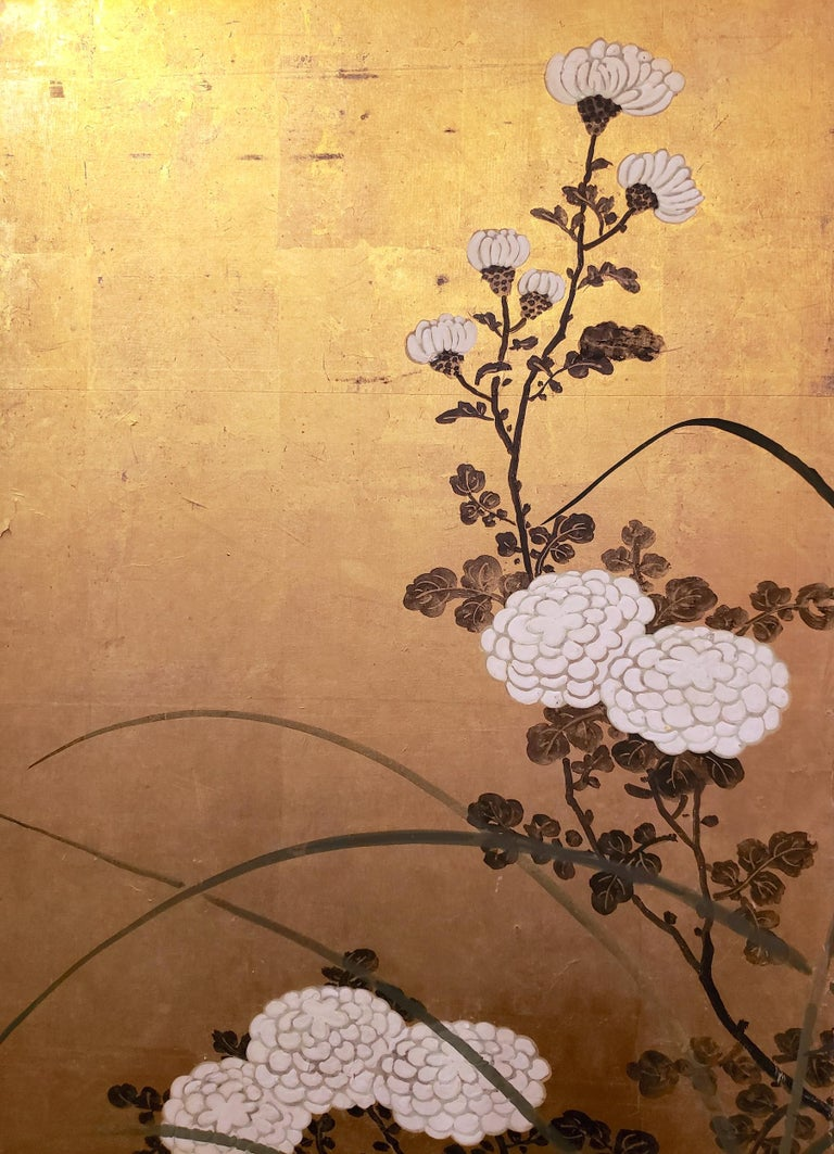 Silk Japanese Screen White Chrysanthemums and Wild Grasses For Sale
