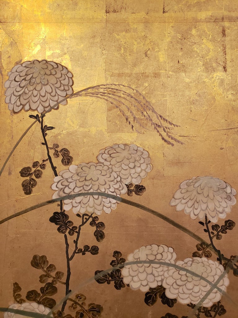 19th Century Japanese Screen White Chrysanthemums and Wild Grasses For Sale