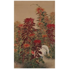Japanese Painting, Hanging Scroll, Circa 1930, Amaranth and Rooster