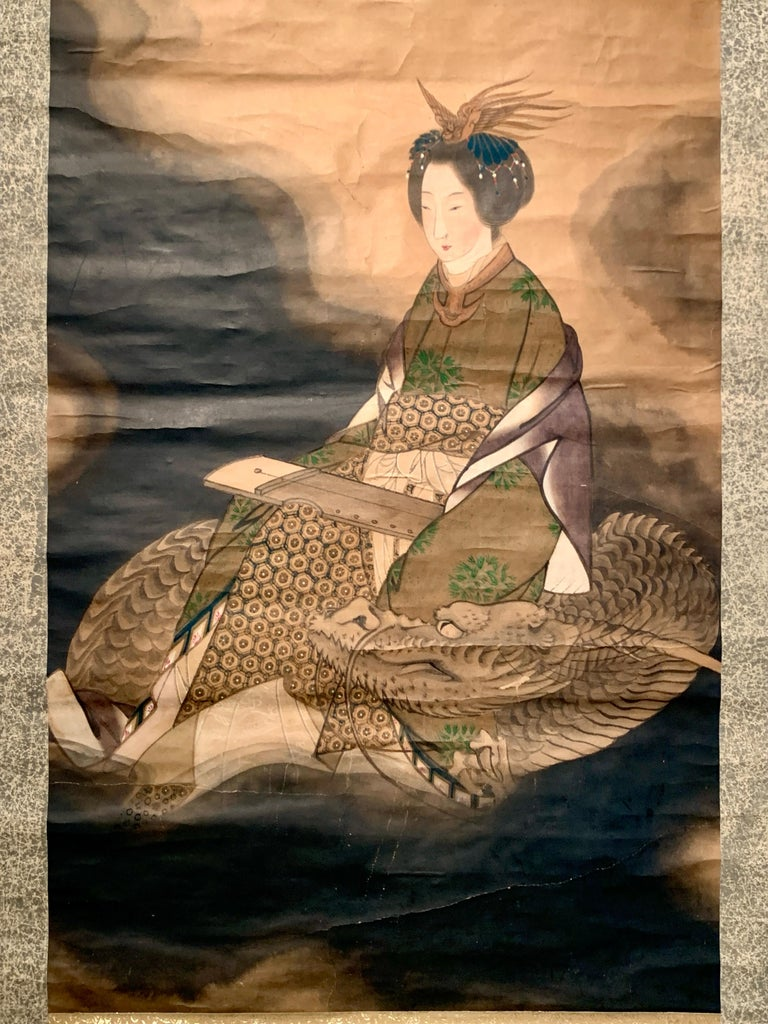 Hand-Painted Japanese Scroll Painting