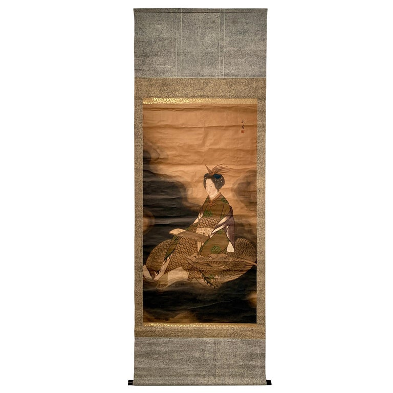 "Japanese Scroll Painting ""Dragon Lady"" Benzaiten, Taisho Period, Early 20th C For Sale"