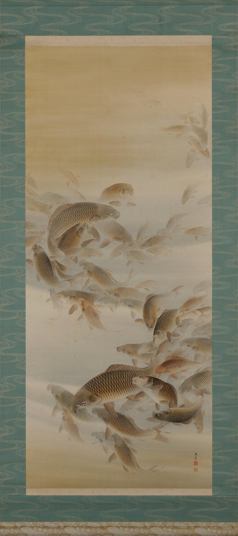 Group of carp  Matsunaga Tensho (1897-1945)  Hanging scroll; ink, colour and gold on silk.  Painting inscription: Tensho  Painting seals: - Matsu in - Tensho   Box inscription: Tensho Jitsu Kinsho   Box seals: - Matsunaga Jitsu In  - Tensho