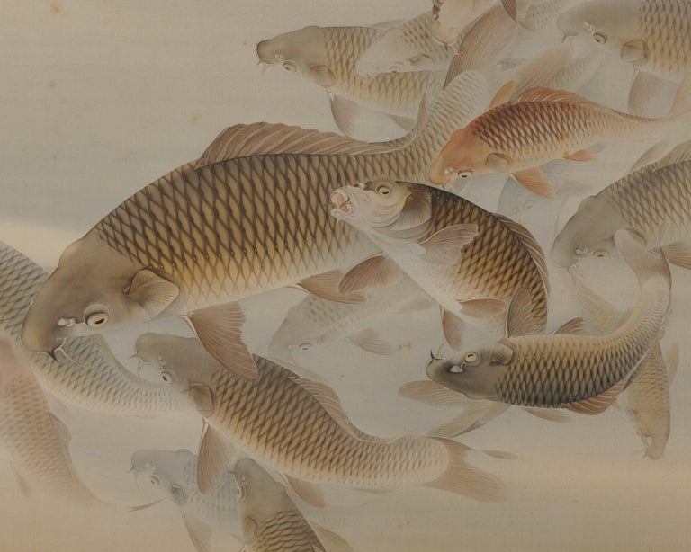 Hand-Painted Japanese Scroll Painting, 'Group of Carp', Colour on Silk, Early 20th Century For Sale