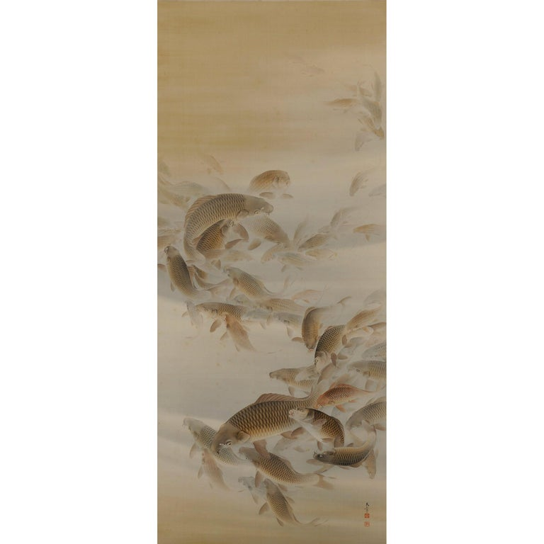 Japanese Scroll Painting, 'Group of Carp', Colour on Silk, Early 20th Century For Sale