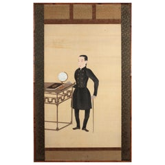 Japanese Scroll Painting of Diplomat Takeaki Enomoto, Meiji, Late 19th Century