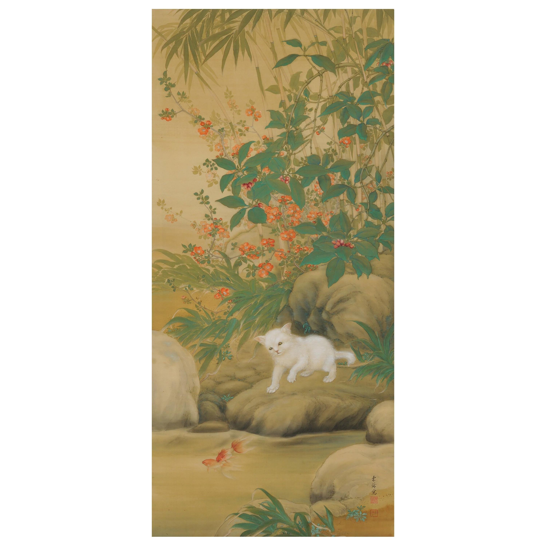 Japanese Painting, Hanging Scroll, 'Playful Cat' by Hirose Toho, 1920s Taisho