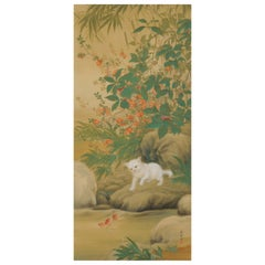 Japanese Painting, Hanging Scroll, 'Playful Cat' by Hirose Toho, 1920s Taisho