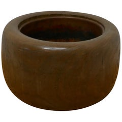 Japanese Sculptured Wood Brazier with Copper Liner