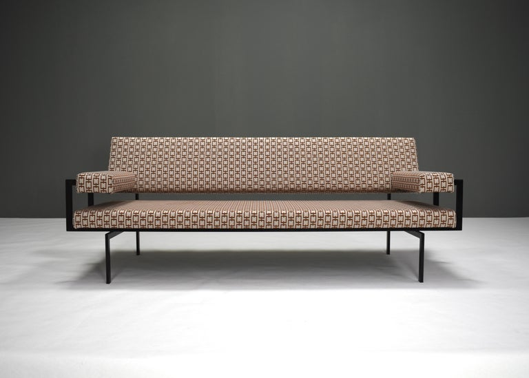 Rare U+N 'Japanese' series sofa by Cees Braakman for UMS PASTOE, Utrecht, the Netherlands.  The seat, back- and armrest have been reupholstered with new foam filling and a beautiful new next season fabric. The sofa has been upholstered with a