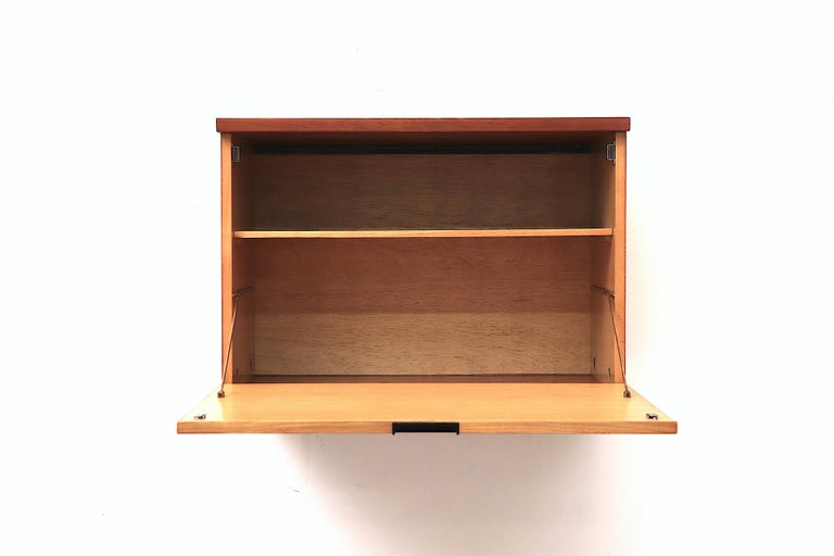 Mid-Century Modern Japanese Series Teak Wall Mount Cabinet for Pastoe For Sale
