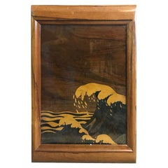 Japanese Serving Tray with Glass Mixed Inlaid Wood and Great Crashing Wave Motif