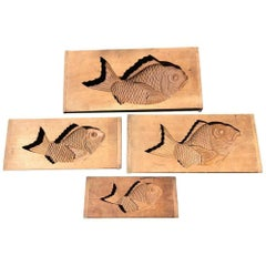Japanese Set Four Big Antique Cherry Wood Fish Cake Molds, Signed & 19th Century