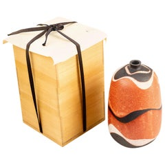 Japanese Shino Pottery Vase by Tamaoki Yasuo