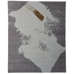 Japanese Shodo Design Rug Hand Knotted in Blush Taupe Beige and Gold