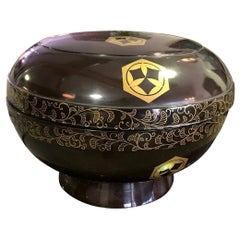 Japanese Showa Footed Black Red Lacquer Bowl or Box with Lid and Gold Decoration