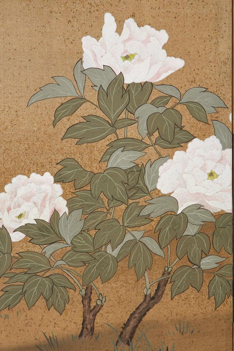 Japanese Showa Four-Panel Screen Flowering Peonies 3