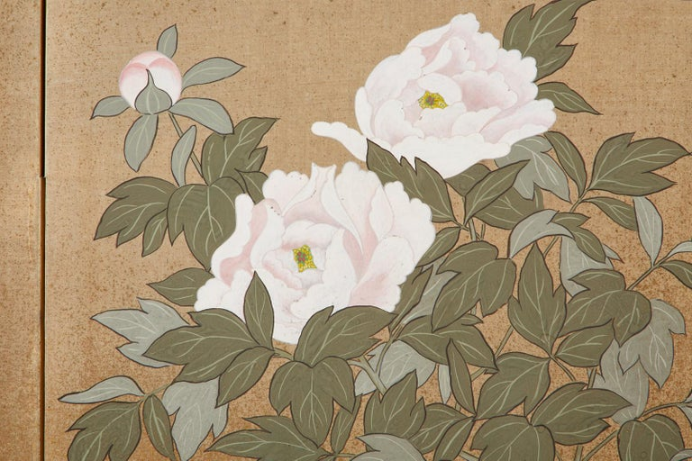 Japanese Showa Four-Panel Screen Flowering Peonies 4