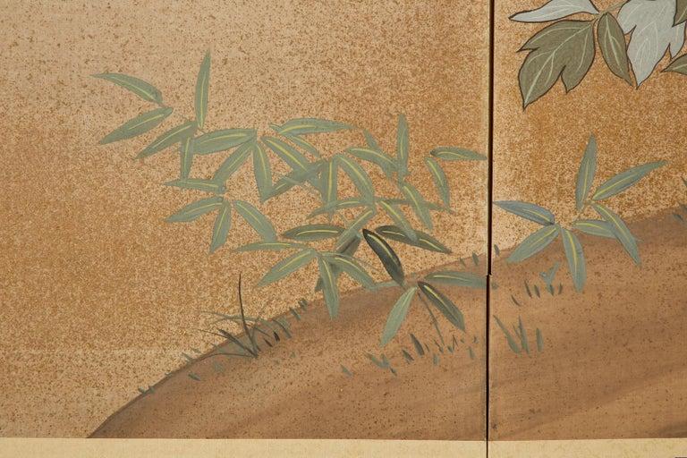Japanese Showa Four-Panel Screen Flowering Peonies 5