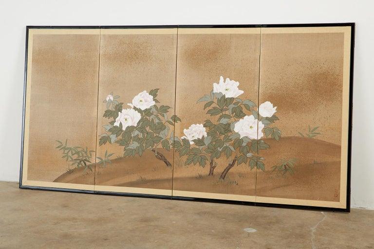 Japanese Showa Four-Panel Screen Flowering Peonies 7