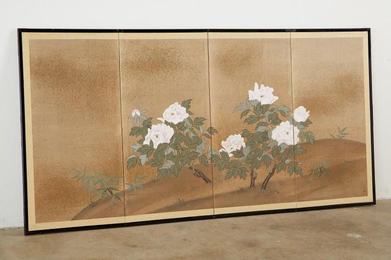 Japanese Showa Four-Panel Screen Flowering Peonies 8